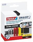 tesa On & Off Klettband Extra Stark / Selbstklebender Klettverschluss zum Fixieren und Befestigen / 1 m x 50 mm