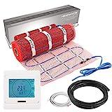 VILSTEIN Elektrische Fußbodenheizung (6m² - 12m lang / 0,5m breit) Elektro Fußboden-Heizmatte 150W/m² für Fliesen-boden Fußboden-Heizsystem Elektrisch inkl. Thermostat TWIN Technologie Komplett-Set