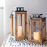 2er Set Holz Laternen mit LED Kerzen Timer Batteriebetrieb Lights4fun