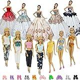 ZITA ELEMENT 20 Stück Puppensachen Mode Fashion Kleider Kleidung Barbie Mädchen Puppen Puppenkleidung Puppen Outfits 3 Kleider 3 Bikini 4 lässige Outfits 10 Schuhe - zufälliger Stil