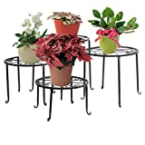 Blumenständer 4-in-1 Set, Blumenhocker aus Metall, dekorativ für Garten/Terrasse (Schwarz)
