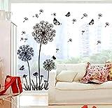 ufengke Schwarze Löwenzahn und Schmetterlinge Fliegen im Wind Wandsticker, Wohnzimmer Schlafzimmer Entfernbare Wandtattoos Wandbilder