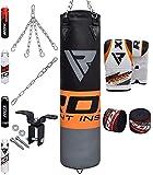 RDX Boxsack Set Gefüllt Kickboxen MMA Muay Thai Boxen mit Deckenhalterung Stahlkette Training Kampfsport Handschuhe Schwer Punchingsack Gewicht 4FT 5FT Punching Bag (MEHRWEG)