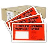 1000 Begleitpapiertaschen Lieferscheintaschen Versando DIN lang DL 23, 5x13cm rot/Schwarz bedruckt Lieferschein/Rechnung selbstklebend