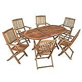 Akazienholz Sitzgruppe Modell 'Timber' für 6 Personen, Gartenmöbel Set aus Holz, klappbar