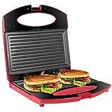 OZAVO Sandwichmaker, Sandwichtoaster für 2 Scheiben Toaster Maker 750W, Panini-Maschine mit Antihaftbeschichtung, Tisch-Grill, Rot