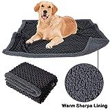 Allisandro Flauschige Hundedecke 100x75cm Grau Hellgrau Katzen Decke mit super Soft weiche zweiseitige Flauschige Haustier-Decke, Überwurf für Hundebett Sofa und Kennel (Anthrazit, L)