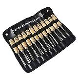 Holz-Schnitzwerkzeug Set, MEYUEWAL 12 Stück Stechbeitel Schnitzmesser mit Schleifstein, Holzschnitzerei Meißel Set mit Tasche Schreiner Meißel für Profis und Anfänger