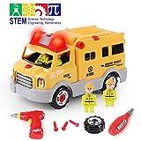 GILOBABY Montage Spielzeug Autos, Kinder DIY Gebäude Spielzeug,Engineering Rescue Vehicles hat Licht und Ton und Drill-Sound, STEAM Spielzeug Geschenke Gut für Kinder