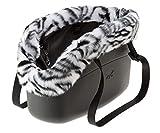Ferplast 79515017 Hundetragetasche with-Me Winter, aus innovativem Eva Gummi, Mit Felleinsatz, 21,5 x 43,5 x 27 cm, schwarz