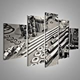 Bild Bilder auf Leinwand Sammlung von Präzisions Auto Motorenteilen in einer Werkstatt angelegt Wandbild Leinwandbild Poster XXL Format