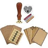 Mogokoyo Schreiben Set- Retro Briefpapierset (56 Blatt Altes Papier + 50 Umschläge + 20 stück Aufkleber) + Vintage-Stil Wachs Siegelstempel mit verschidene Gravur (Herz)