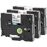 3x Schriftband für Brother TZe-231 12mm schwarz auf weiß 12mm breit x 8m Länge kompatibel zu TZE-231
