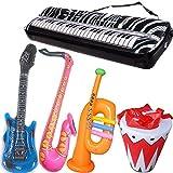 GuassLee Aufblasbares Rockstar-Spielzeugset - 5er-Pack Aufblasbares Spielzeug für Rock'n'Roll-Partys - Gitarre, Trompete, Saxophon, Keyboard Klavier, Trommel 5-teilig