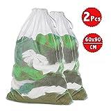 2 Stück Wäschesack , Genmer 60 x 90 cm Wäschenetz Set Für Wäschebeutel perfekt für Waschmaschine Weiß , Wäschebeutel für Dessous, Strumpfhosen, Mantel und Baby Kleidung