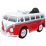 ROLLPLAY Elektrofahrzeug mit Fernsteuerung und Rückwärtsgang, Für Kinder ab 3 Jahren, Bis max. 35 kg, 6-Volt-Akku, Bis zu 4 km/h, VW Bus T1 (Typ 2), Rot