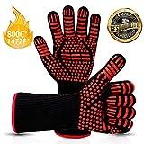 Vivibel Grillhandschuhe, BBQ Handschuhe, Grill Grillhandschuhe Hitzebeständige bis zu 800 ° C Rutschfeste Hitzebeständiger mit Silikon Ofenhandschuhe Topfhandschuhe für Grill Kochen Backen/Schweißen