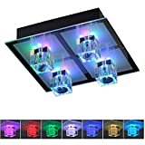 Deckenleuchte Kristall | Deckenlampe in Chrom | Leuchte inklusive Halogen und LED-Leuchtmittel  Lampe mit RGB-Farbwechsel  Steuerung via Fernbedienung