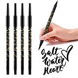 HOMEWINS 4 Stück Kalligraphie Stift mit Doppelseitige 2 Größen Spitzen, Schwarz Marker Stift Pinselstift Set für Zeichnung, Unterschrift, Handlettering
