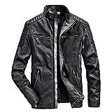 Amlaiworld Herren Motorrad Coole warm Jacken Outdoor Winter Herbst Mäntel PU Leder Freizeit Sport Mantel Gemütlich Stehkragen Klassische Pullover