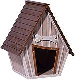 dobar 55012 Hundehütte ,XL Outdoor Hundehaus für große Hunde , Platz für ein Hundebett , Hundehöhle mit Spitzdach , 90x77x109 cm , 14kg Holzhütte , entfernbarer Boden   Farbe: braun/grau