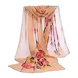Moginp Damen Schultertuch Frau Schmetterling Muster Chiffon Schal (Orange)