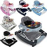 2IN1 Lauflernhilfe / Babyschaukel mit Spielcenter (12 Melodien) und Einlage (GRAU)