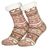 Piarini 1 Paar Kuschelsocken mit ABS Sohle | warme Damen Socken | Wintersocken mit Anti Rutsch Noppen | Love-Beige (One-Size)