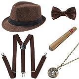 Coucoland 1920s Herren Accessoires Mafia Gatsby Kostüm Set inklusive Panama Gangster Hut Verstellbar Elastisch Hosenträger Herren Halsschleife Fliege Taschenuhr und Plastik Zigarre (Braun)