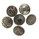 SiAura Material  - 10x Zufällig Gemischte Metallknöpfe, bronzefarben, D. 17 mm, Lochgröße 2,3 mm