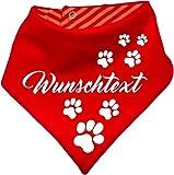 Hunde Wende- Halstuch (Fb: rot-orange) (Gr.2 - HU bis 38 cm) mit Ihrem Wunschtext