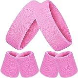 Bememo 6 Stück Gestreifte Schweißbänder Set, Enthält 2 Stück Sport Stirnband und 4 Stück Armbänder Schweißbänder Bunte Baumwolle Gestreiften Schweißband Set für Männer und Damen (Rosa)