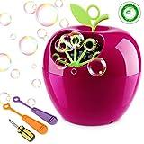 apiker Seifenblasenmaschine Kinder, Bubble Machine Apple Form, Bubble Maker 800 Farbige Blasen in Einer Minute, ungiftigem ABS-Kunststoff, Seifenblasen Maschine für Hochzeit, Party, Familiencamping