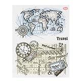 ECMQS DIY Map Transparente Briefmarke, Silikon Stempel Set, Clear Stamps, Schneiden Schablonen, Bastelei Scrapbooking-Werkzeug