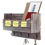 Halcent Zeitschriftenhalter Schlüsselbrett Wand Briefablage Zeitungsständer Holz Zeitungshalter Wandorganizer Schlüsselhaken für Schlüsseln Briefen Prospekten