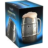 Innovee Bierkrug – Wertvolle Tasse höchster Qualität in Edelstahl / Kaffeetasse mit Extra-Deckel – 500ml Doppelwand luftisoliert - Ohne Leck – Gefrierbar – Für Bier, warme Getränke and mehr geeignet