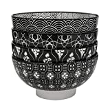 Vancasso Haruka 4-teilig Müslischalen aus Porzellan, Schalen Set, 15,2 cm Durchmesser für Obst, Nuddeln usw.
