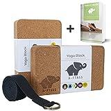 A-FTNSS Yoga Block Yoga Klotz Natur Kork mit Yoga Gurt Set für Yoga und Pilates für Anfänger und Fortgeschrittene rutschfest stabil leicht (2 Blocks 1 Strap)