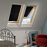 KINLO 38 x 75cm Sonnenschutz Dachfensterrollo Beschichtung für Velux Dachfenster UV Schutz Thermo Rollo mit Sucker Struktur + 6 stabil Saugnäpfe ohne Bohren