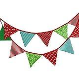 Schöne Wimpelkette 3.3M Wimpel Girlande mit 12 Wimpeln in Dreiecksform für Kindergeburtstagsfeier; Weihnachtsfest