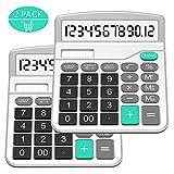 Taschenrechner, Splaks 2 Pack 12-stellig Standard Funktion Tischrechner Bürorechner Rechenmaschine Solar- und AA Batterie betrieb Calculator mit großem Display (2er Silber)