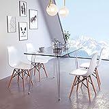 Moderner rechteckiger Glas-Esstisch und Stühle, 4 Stück, Kleiner runder Tisch mit Metallbeinen, Eiffelturm-Esszimmerstuhl für Esszimmer, Küche, Möbel, Rectangular Table+4 Chair