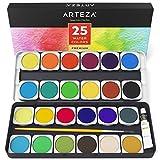 ARTEZA Premium Malkasten — Aquarellfarben-Set mit 25 Wassermalfarben — mit Pinsel und Deckweiß