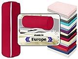 Nackenrolle in 3 verschiedenen Qualitäten oder Jersey-Kissenhülle für Nackenrollen in 17 Farben - 100% Mako-Baumwolle - Einheitsgröße ca. 40 x 15 cm, Bezug in rubin
