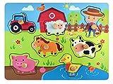 Pucts Steckpuzzle Bauernhof - Hochwertige Holzpuzzle fur Kinder und Kleinkindern
