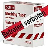 Betreten verboten 500m Absperrband, Flatterband, Warnband Absperr-Warnband rot-weiß 80 mm extrem reißfest