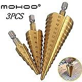 Stufenbohrer MOHOO 3pcs Kegelbohrer 4-12 mm / 4-20mm / 4-32mm titannitriert Schritt Konusbohrer 13 Schritte Hex Schaft HSS Tool Kit für Stahl, Holz, Kunststoff, usw.