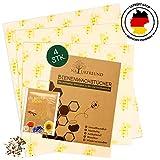 Bienenwachstücher von NATURFREUND - 4er Set - Für Lebensmittel - Inkl. Gratis Saatmischung zur Bienenrettung - Die wiederverwendbare Alternative zu Frischhaltefolie - 100% Natürliches Wachstuch