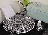 Aakriti Gallery, runder, dekorativer Kissenbezug für Meditationskissen, Bodenkissen mit Mandala-Design im Bohemian-Stil, 89 cm schwarz / weiß
