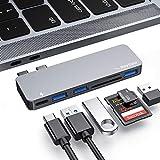 Ray cue USB-C-Hub, Typ-C-Hub-Adapter, 3 USB 3.0-Anschlüsse, TF/SD-Kartenleser, USB-C-Stromversorgung, 6-in-1-Aluminium-Adapter für MacBook Pro 13'und 15' 2016/2017/2018